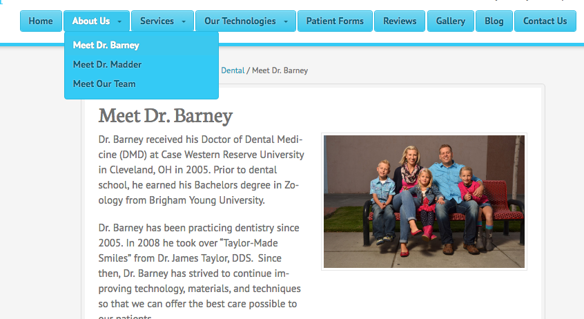 an example of a dental about us page