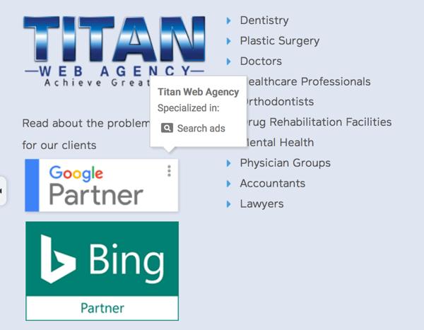 titan web agency google partner bing partner