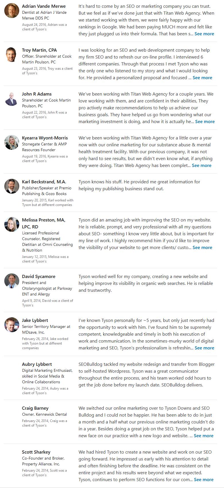 Tyson Downs LinkedIn Endorsements