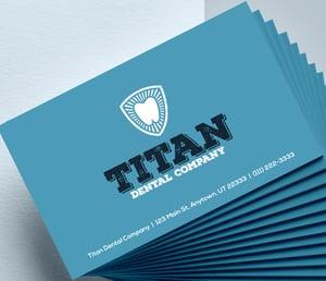 dental business card logo samples blue background