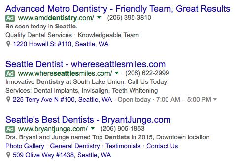 dental ppc ads