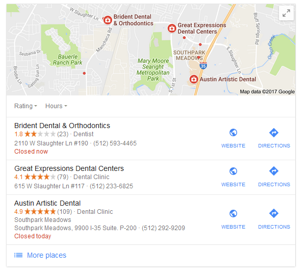dental practice google reviews