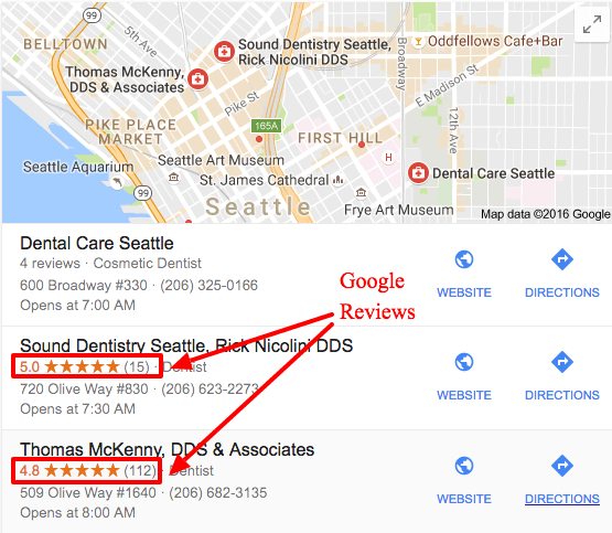 google reviews in google search