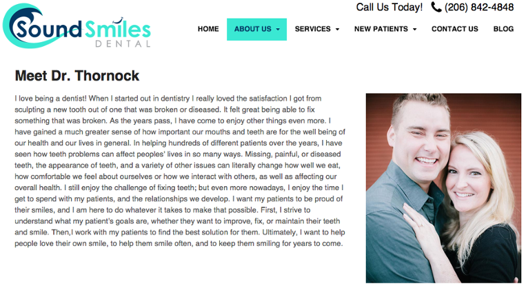 example of dental website bio page