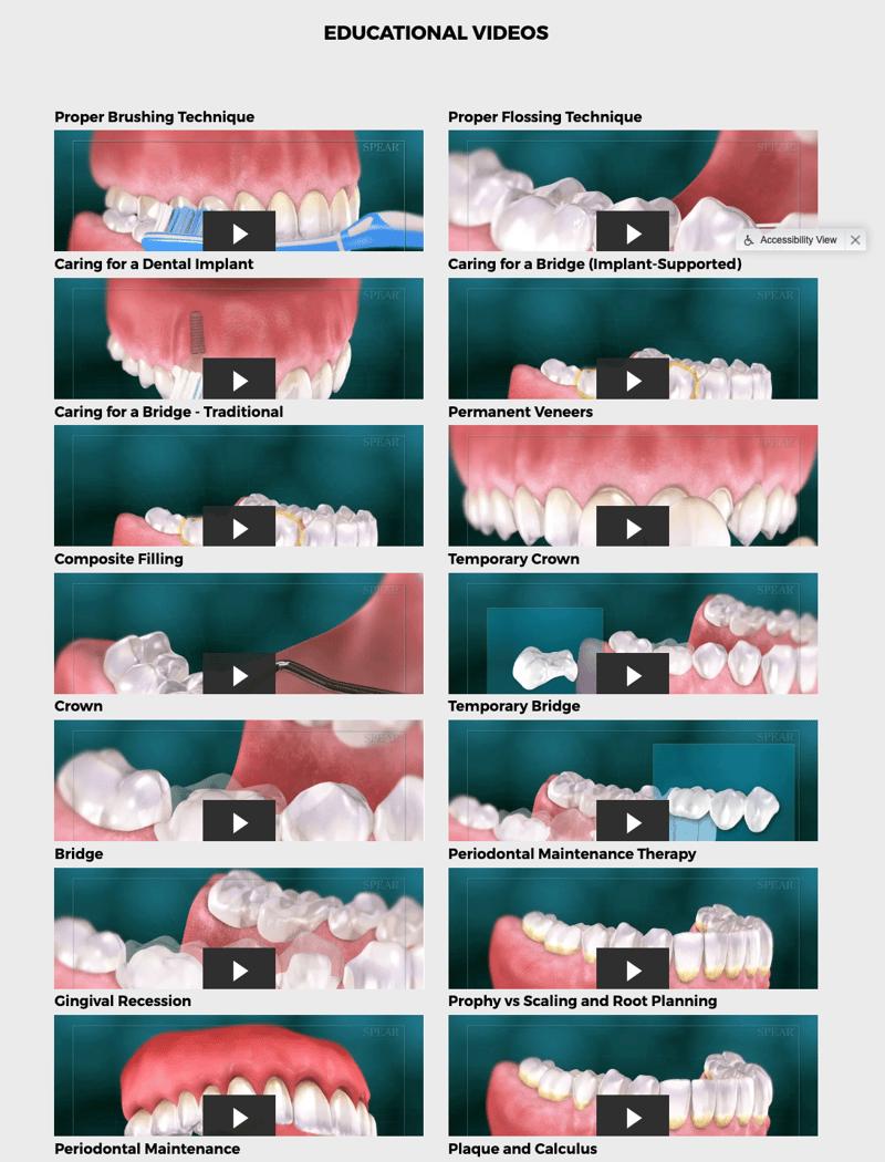 Dental website patient education videos
