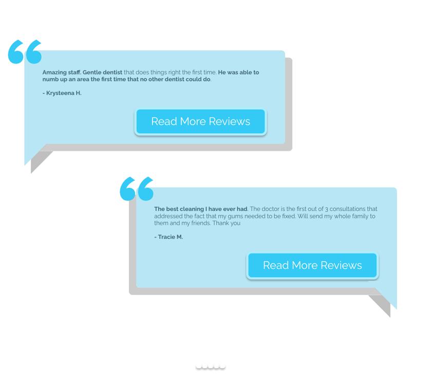 Dental website patient testimonials and reviews