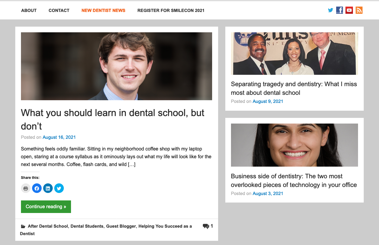 Social sharing icon in a dentist website blog section